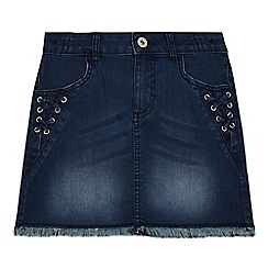 bluezoo - Girls' blue lace up detail denim skirt