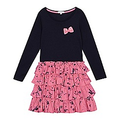 bluezoo - Girls' navy unicorn print rara dress