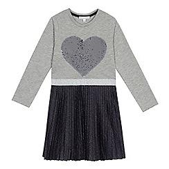 bluezoo - 'Girls' blue sequin applique pleated dress