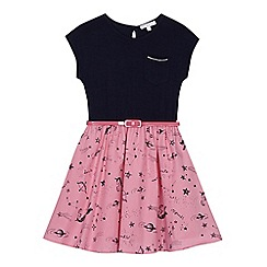 bluezoo - Girls' navy and pink unicorn print dress