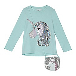 bluezoo - Girls' aqua unicorn sequinned t-shirt with a bag
