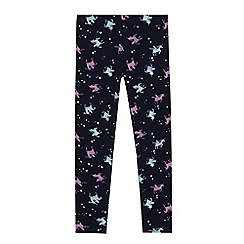 bluezoo - 'Girls' navy unicorn print leggings