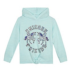 bluezoo - Girls' turquoise sequinned unicorn sweater
