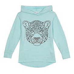 bluezoo - 'Girls' aqua tiger studded sweater