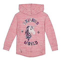bluezoo - 'Girls' pink sequinned unicorn hoodie