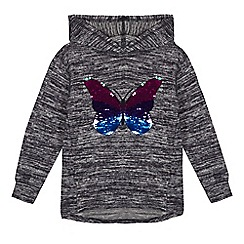 bluezoo - 'Girls' navy sequinned butterfly sweater