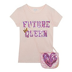 bluezoo - Girls' pink 'Future queen' slogan t-shirt and bag