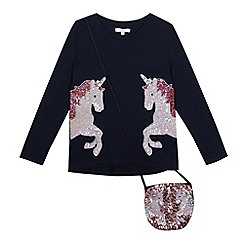 bluezoo - Girls' navy sequinned unicorn t-shirt with a bag