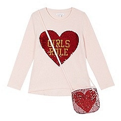 bluezoo - Girls' pink 'Girls rule' sequinned top with a bag