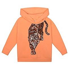 bluezoo - 'Girls' orange sequinned tiger hoodie