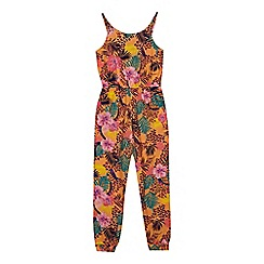 bluezoo - 'Girls' multi-coloured tropical print jumpsuit