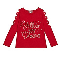 bluezoo - Girls' red studded 'Follow Your Dreams' top