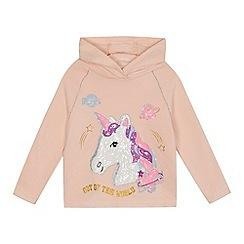 bluezoo - 'Girls' pink sequinned unicorn hoodie