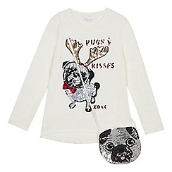 bluezoo - Girls' cream festive pug top with a bag