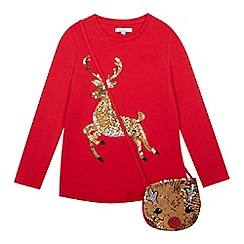 bluezoo - Girls' red sequined reindeer T-shirt and bag set