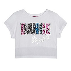 Pineapple - Girls' white animal print 'Dance' crop top