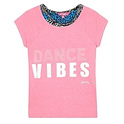 Pineapple - Girls' pink studded 'Dance Vibes' t-shirt and animal print crop top set