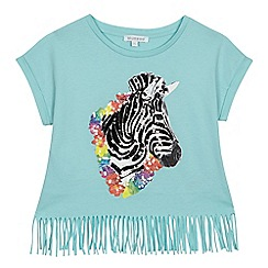 bluezoo - Girls' light blue sequinned zebra top
