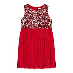 bluezoo - Girls' red sequinned mesh dress