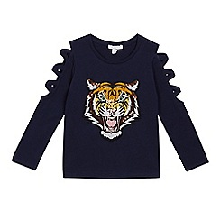 bluezoo - Girls' navy sequinned tiger top