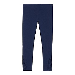 bluezoo - Girls' navy lace trim leggings