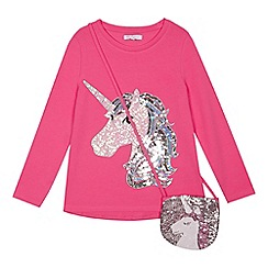 bluezoo - Girls' unicorn print pink sequined top with a bag