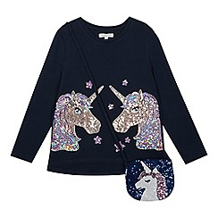 bluezoo - Girls' navy sequined unicorn T-shirt with a bag