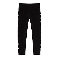 bluezoo - Girls' Black Velour Studded Leggings