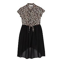 bluezoo - Girls' black leopard print mock dress