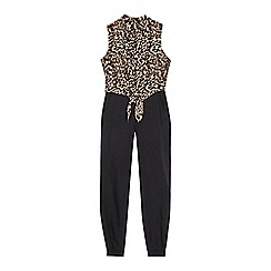 bluezoo - Girls' black leopard print jumpsuit