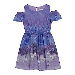bluezoo - Girls' purple unicorn print cold shoulder dress