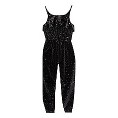 bluezoo - Girls' black velvet glitter jumpsuit
