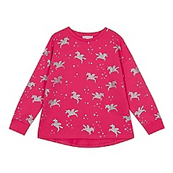 bluezoo - Girls' pink glitter unicorn print sweatshirt