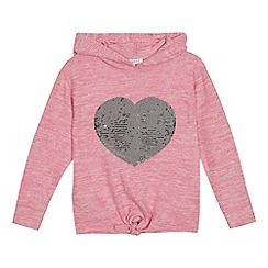 bluezoo - Girls' pink sequin heart embellished hoodie