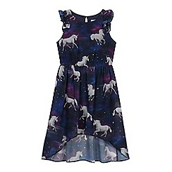 bluezoo - Girls' Purple Unicorn Print High Low Dress