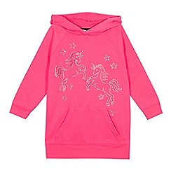 bluezoo - Girls' pink diamante unicorn hoodie