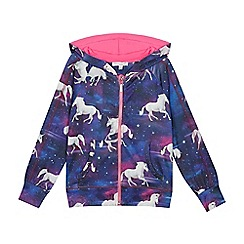 bluezoo - Girls' multicoloured unicorn print hoodie
