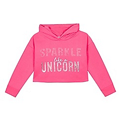 bluezoo - Girls' 'unicorn' pink sequined cropped hoodie