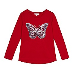 bluezoo - Girls' red sequined butterfly top