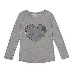bluezoo - Girls' grey reversible sequined heart top