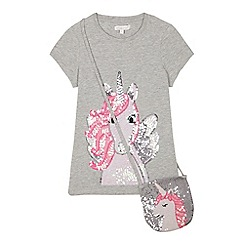 bluezoo - Girls' Grey Sequinned Unicorn T-Shirt and Bag Set