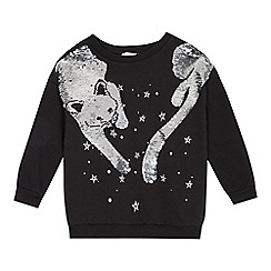 bluezoo - Girls' black reversible seqinned cat sweatshirt