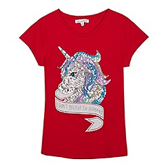 bluezoo - Girls' red sequinned unicorn t-shirt