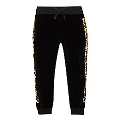 bluezoo - Girls' black velour sequinned jogging bottoms