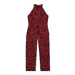 bluezoo - Girls' Red Leopard Print Jumpsuit