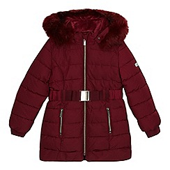 J by Jasper Conran - 'Girls' dark red padded shower resistant coat
