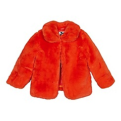 J by Jasper Conran - Girls' bright orange faux fur coat