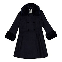 J by Jasper Conran - Girls' navy faux fur riding coat