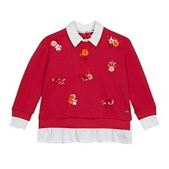 J by Jasper Conran - Girls' pink flower applique mock jumper