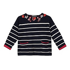 J by Jasper Conran - Girls' navy stripe print jumper